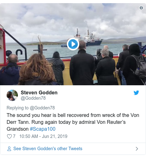 Twitter post by @Godden78: The sound you hear is bell recovered from wreck of the Von Derr Tann. Rung again today by admiral Von Reuter's Grandson #Scapa100