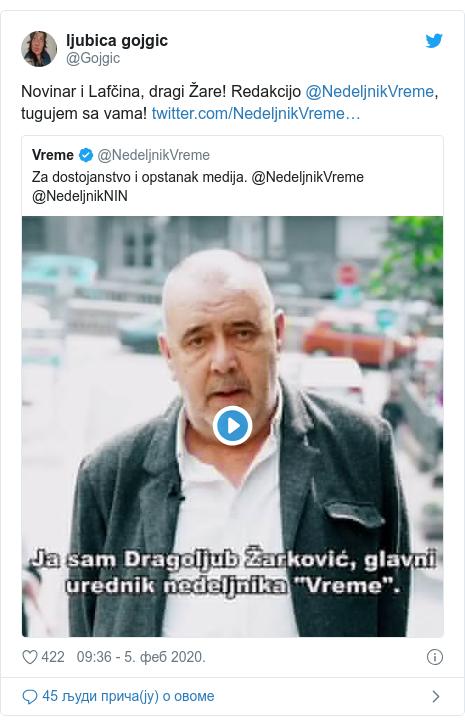 Twitter post by @Gojgic: Novinar i Lafčina, dragi Žare! Redakcijo @NedeljnikVreme, tugujem sa vama!