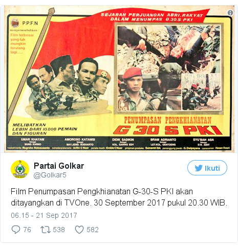 Twitter pesan oleh @Golkar5: Film Penumpasan Pengkhianatan G-30-S PKI akan ditayangkan di TVOne. 30 September 2017 pukul 20.30 WIB. pic.twitter.com/Od5LG5uXuY