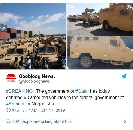 Twitter post by @Goobjoognews: #BREAKING   The government of #Qatar has today donated 68 amoured vehicles to the federal government of #Somalia in Mogadishu.