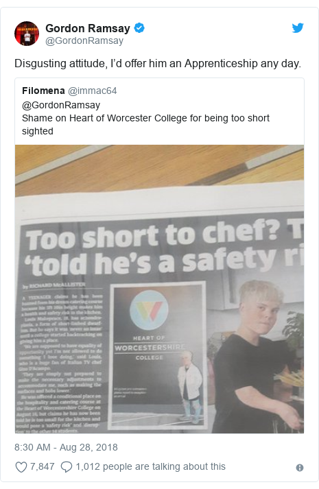 Twitter post by @GordonRamsay: Disgusting attitude, I'd offer him an Apprenticeship any day.