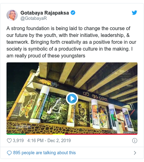 Twitter හි @GotabayaR කළ පළකිරීම: A strong foundation is being laid to change the course of our future by the youth, with their initiative, leadership, & teamwork. Bringing forth creativity as a positive force in our society is symbolic of a productive culture in the making. I am really proud of these youngsters