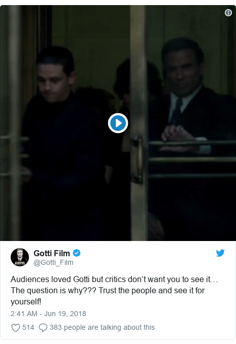 Twitter post by @Gotti_Film: Audiences loved Gotti but critics don't want you to see it… The question is why??? Trust the people and see it for yourself!