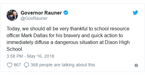 Twitter post by @GovRauner: Today, we should all be very thankful to school resource officer Mark Dallas for his bravery and quick action to immediately diffuse a dangerous situation at Dixon High School.