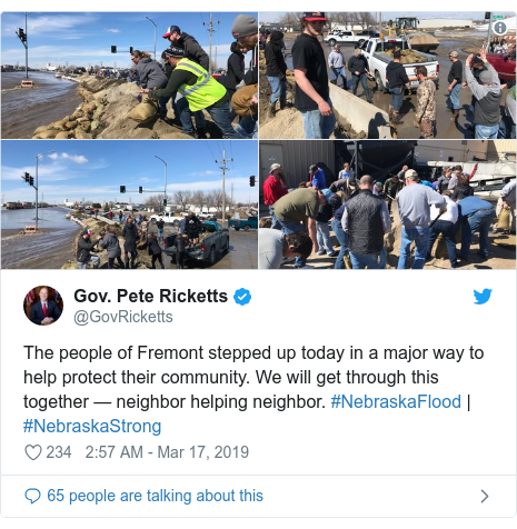 Twitter post by @GovRicketts: The people of Fremont stepped up today in a major way to help protect their community. We will get through this together — neighbor helping neighbor. #NebraskaFlood | #NebraskaStrong