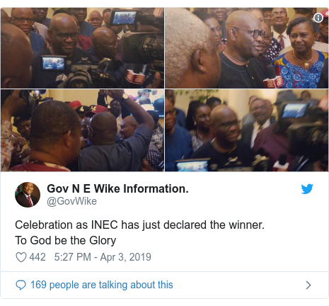 Twitter post by @GovWike: Celebration as INEC has just declared the winner.To God be the Glory
