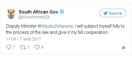 Twitter publication par @GovernmentZA