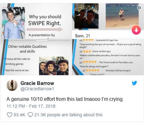 Twitter post by @GracieBarrow1: A genuine 10/10 effort from this lad lmaooo I'm crying