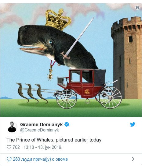 Twitter post by @GraemeDemianyk: The Prince of Whales, pictured earlier today