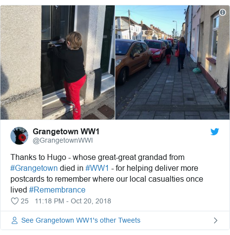 Twitter post by @GrangetownWWI: Thanks to Hugo - whose great-great grandad from #Grangetown died in #WW1 - for helping deliver more postcards to remember where our local casualties once lived #Remembrance