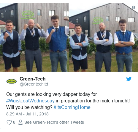 Twitter post by @Greentechltd: Our gents are looking very dapper today for #WaistcoatWednesday in preparation for the match tonight! Will you be watching? #ItsComingHome