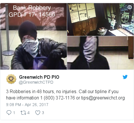 Twitter post by @GreenwichCTPD: 3 Robberies in 48 hours, no injuries.  Call our tipline if you have information 1 (800) 372-1176 or tips@greenwichct.org
