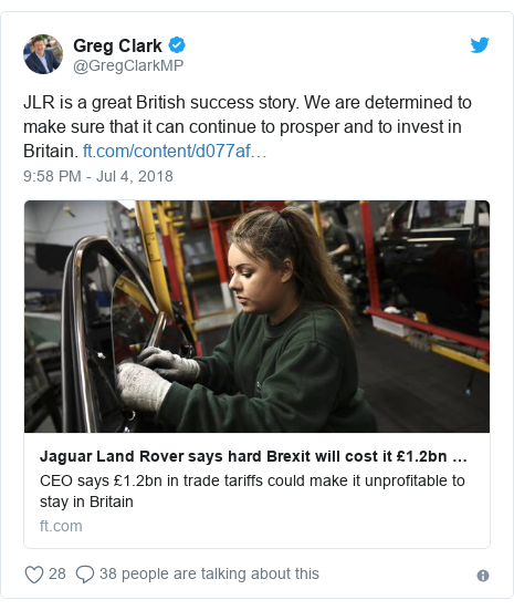 Twitter post by @GregClarkMP: JLR is a great British success story. We are determined to make sure that it can continue to prosper and to invest in Britain.