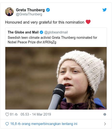 Twitter pesan oleh @GretaThunberg: Honoured and very grateful for this nomination ❤️