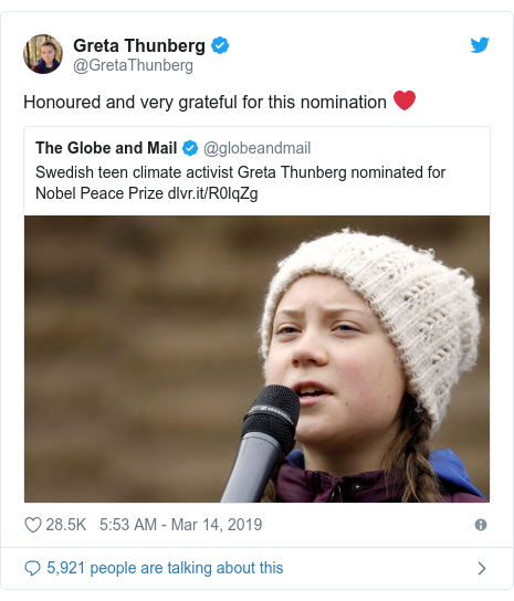 Twitter post by @GretaThunberg: Honoured and very grateful for this nomination ❤️