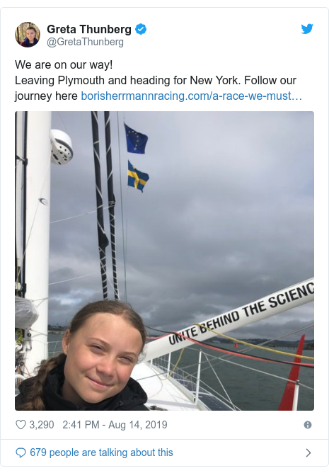 Twitter post by @GretaThunberg: We are on our way! Leaving Plymouth and heading for New York. Follow our journey here