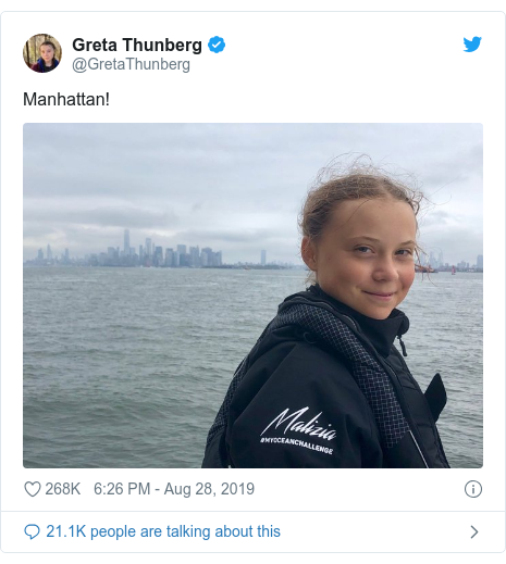 Twitter post by @GretaThunberg: Manhattan!