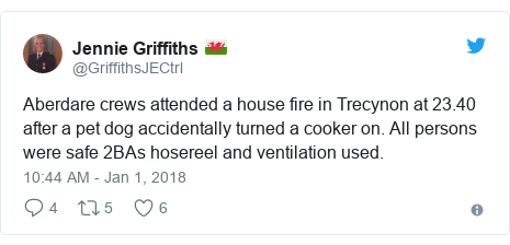 Twitter post by @GriffithsJECtrl: Aberdare crews attended a house fire in Trecynon at 23.40 after a pet dog accidentally turned a cooker on. All persons were safe 2BAs hosereel and ventilation used.