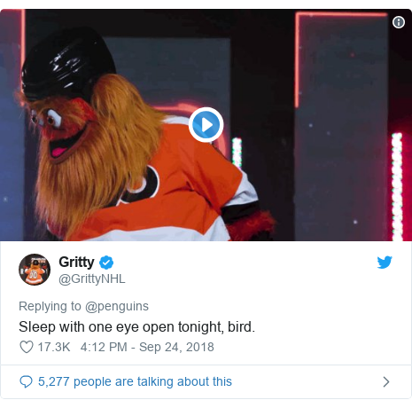 Twitter post by @GrittyNHL: Sleep with one eye open tonight, bird.