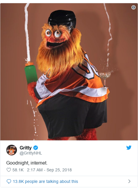 Twitter post by @GrittyNHL: Goodnight, internet.