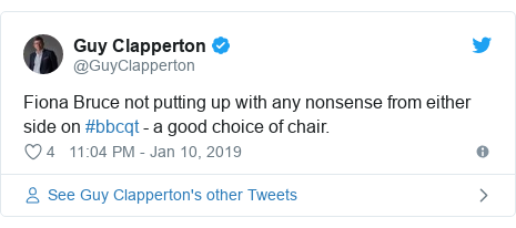 Twitter post by @GuyClapperton: Fiona Bruce not putting up with any nonsense from either side on #bbcqt - a good choice of chair.