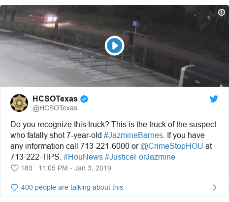Twitter post by @HCSOTexas: Do you recognize this truck? This is the truck of the suspect who fatally shot 7-year-old #JazmineBarnes. If you have any information call 713-221-6000 or @CrimeStopHOU at 713-222-TIPS. #HouNews #JusticeForJazmine