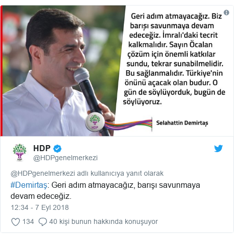 @HDPgenelmerkezi tarafından yapılan Twitter paylaşımı: #Demirtaş  Geri adım atmayacağız, barışı savunmaya devam edeceğiz.