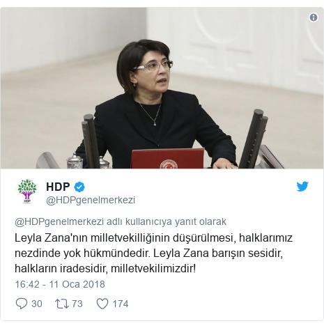 @HDPgenelmerkezi tarafından yapılan Twitter paylaşımı: Leyla Zana'nın milletvekilliğinin düşürülmesi, halklarımız nezdinde yok hükmündedir. Leyla Zana barışın sesidir, halkların iradesidir, milletvekilimizdir!