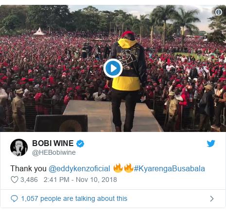 Twitter post by @HEBobiwine: Thank you @eddykenzoficial 🔥🔥#KyarengaBusabala