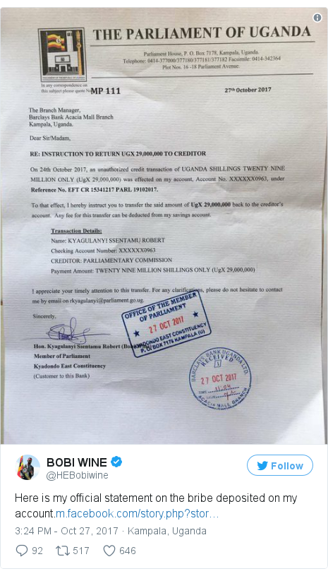 Twitter post by @HEBobiwine: Here is my official statement on  the bribe deposited on my account.