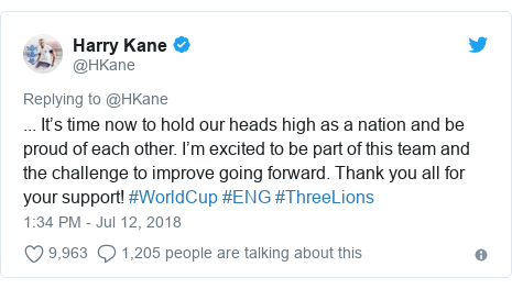 Twitter post by @HKane: ... It's time now to hold our heads high as a nation and be proud of each other. I'm excited to be part of this team and the challenge to improve going forward. Thank you all for your support! #WorldCup #ENG #ThreeLions