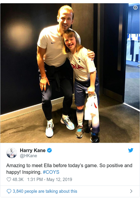 Twitter post by @HKane: Amazing to meet Ella before today's game. So positive and happy! Inspiring. #COYS