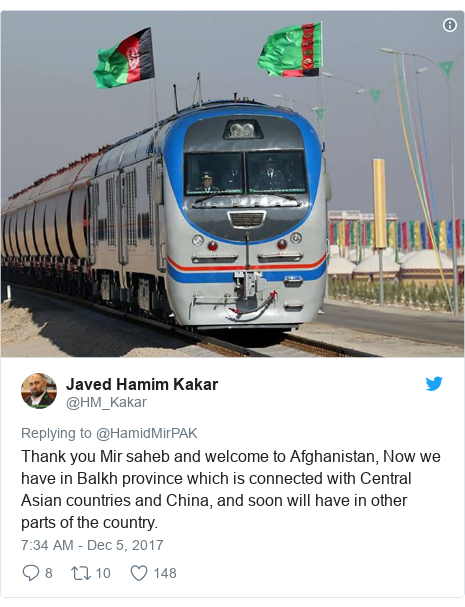 د @HM_Kakar په مټ ټویټر  تبصره : Thank you Mir saheb and welcome to Afghanistan, Now we have in Balkh province which is connected with Central Asian countries and China, and soon will have in other parts of the country.