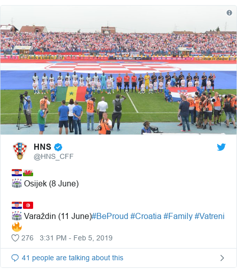 Neges Twitter gan @HNS_CFF: 🇭🇷🏴🏟️ Osijek (8 June)🇭🇷🇹🇳🏟️ Varaždin (11 June)#BeProud #Croatia #Family #Vatreni🔥