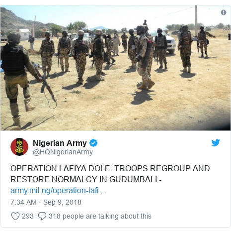 Twitter post by @HQNigerianArmy: OPERATION LAFIYA DOLE  TROOPS REGROUP AND RESTORE NORMALCY IN GUDUMBALI -