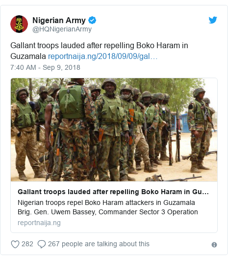 Twitter post by @HQNigerianArmy: Gallant troops lauded after repelling Boko Haram in Guzamala