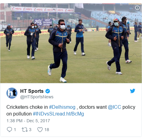 Twitter හි @HTSportsNews කළ පළකිරීම: Cricketers choke in #Delhismog , doctors want @ICC policy on pollution #INDvsSL