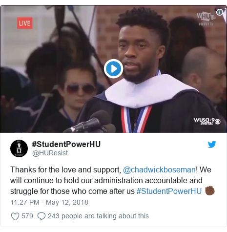 Twitter post by @HUResist: Thanks for the love and support, @chadwickboseman! We will continue to hold our administration accountable and struggle for those who come after us #StudentPowerHU ✊🏿