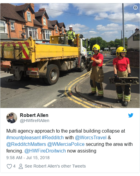 Twitter post by @HWfireRAllen: Multi agency approach to the partial building collapse at #mountpleasant #Redditch with @WorcsTravel & @RedditchMatters @WMerciaPolice securing the area with fencing. @HWFireDroitwich now assisting