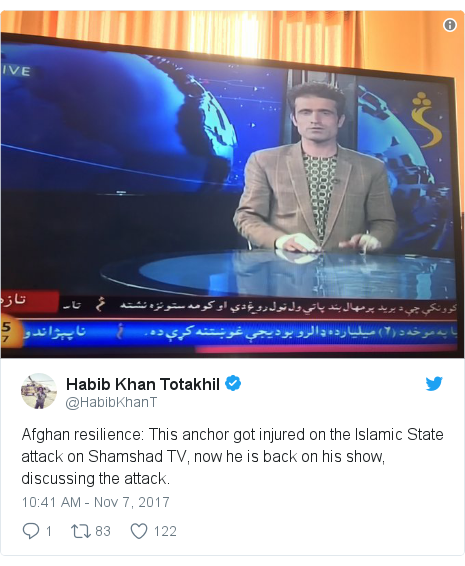 Twitter post by @HabibKhanT: Afghan resilience  This anchor got injured on the Islamic State attack on Shamshad TV, now he is back on his show, discussing the attack.