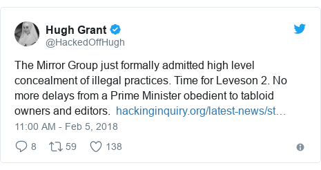 Twitter post by @HackedOffHugh: The Mirror Group just formally admitted high level concealment of illegal practices. Time for Leveson 2. No more delays from a Prime Minister obedient to tabloid owners and editors.