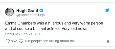 Twitter post by @HackedOffHugh: Emma Chambers was a hilarious and very warm person and of course a brilliant actress. Very sad news.
