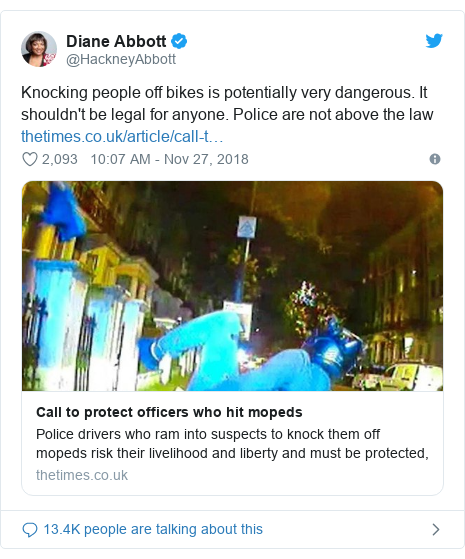 Twitter post by @HackneyAbbott: Knocking people off bikes is potentially very dangerous. It shouldn't be legal for anyone. Police are not above the law