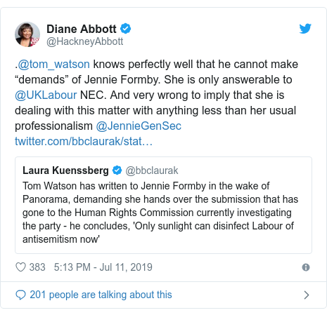 "Twitter post by @HackneyAbbott: .@tom_watson knows perfectly well that he cannot make ""demands"" of Jennie Formby. She is only answerable to @UKLabour NEC. And very wrong to imply that she is dealing with this matter with anything less than her usual professionalism @JennieGenSec"