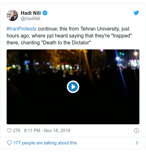 """Twitter post by @HadiNili: #IranProtests continue; this from Tehran University, just hours ago, where ppl heard saying that they're """"trapped"""" there, chanting """"Death to the Dictator"""""""