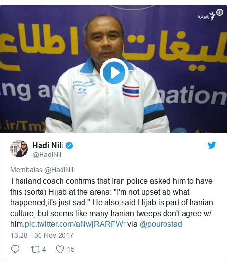 """Twitter pesan oleh @HadiNili: Thailand coach confirms that Iran police asked him to have this (sorta) Hijab at the arena  """"I'm not upset ab what happened,it's just sad."""" He also said Hijab is part of Iranian culture, but seems like many Iranian tweeps don't agree w/ him. via @pourostad"""