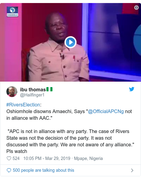 "Twitter post by @Hailfinger1: #RiversElection  Oshiomhole disowns Amaechi, Says ""@OfficialAPCNg not in alliance with AAC."" ""APC is not in alliance with any party. The case of Rivers State was not the decision of the party. It was not discussed with the party. We are not aware of any alliance.""  Pls watch"