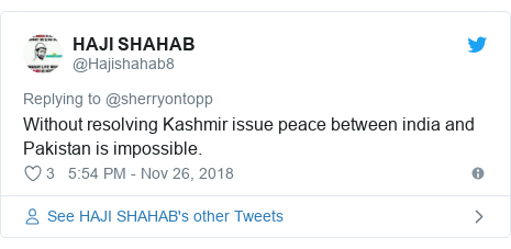 Twitter post by @Hajishahab8: Without resolving Kashmir issue peace between india and Pakistan is impossible.