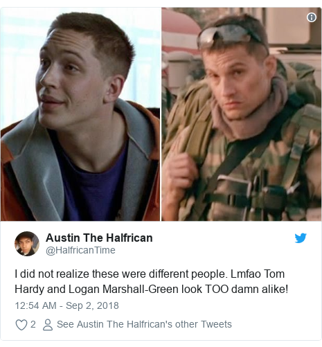 Twitter post by @HalfricanTime: I did not realize these were different people. Lmfao Tom Hardy and Logan Marshall-Green look TOO damn alike!