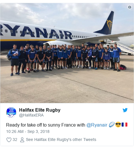 Twitter post by @HalifaxERA: Ready for take off to sunny France with @Ryanair 🏉😎🇫🇷
